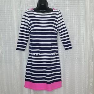 Lilly Pulitzer Striped 3/4 Sleeve Shift Dress SzS